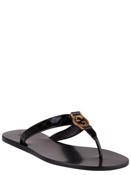 Кожаные шлепанцы - черные Gucci