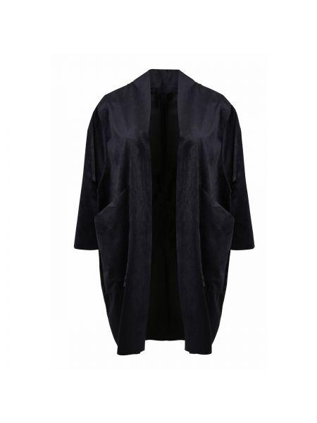 Велюровый черный кардиган оверсайз с рукавом 3/4 Mat Fashion