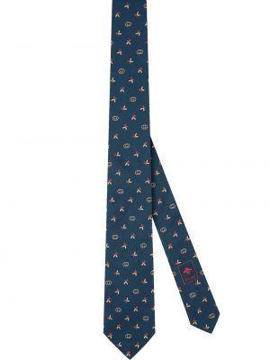 Niebieski krawat z jedwabiu z haftem Gucci