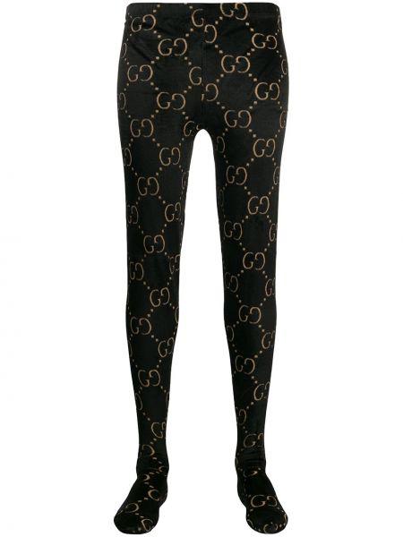 Czarne rajstopy wełniane z printem Gucci