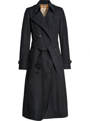 Синее кожаное пальто на пуговицах с лацканами с карманами Burberry