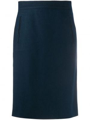 Шерстяная синяя с завышенной талией юбка с запахом Gianfranco Ferre Pre-owned