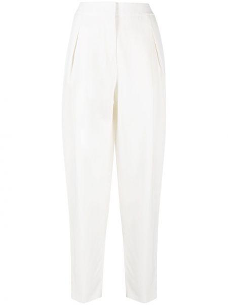 Прямые с завышенной талией белые брюки Agnona