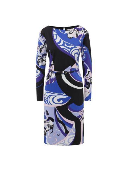 Платье с поясом приталенное с принтом Emilio Pucci