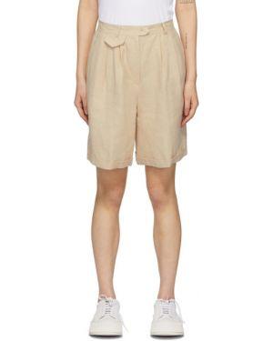 Короткие шорты с завышенной талией бежевые Amomento