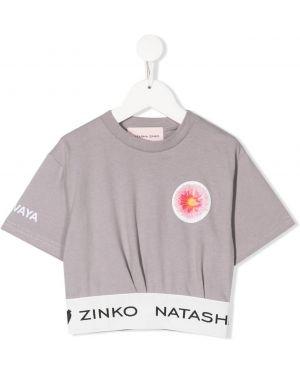 Хлопковая серая футболка круглая с круглым вырезом Natasha Zinko Kids