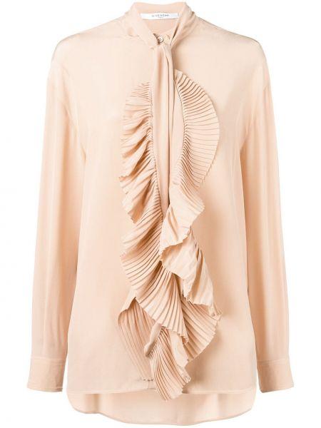 Bluzka z długim rękawem jedwabna z falbankami Givenchy