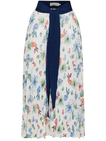 Белая с завышенной талией юбка миди из вискозы с завязками Silvia Tcherassi