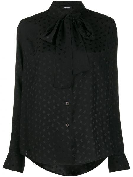 Шелковая черная блузка с бантом P.a.r.o.s.h.