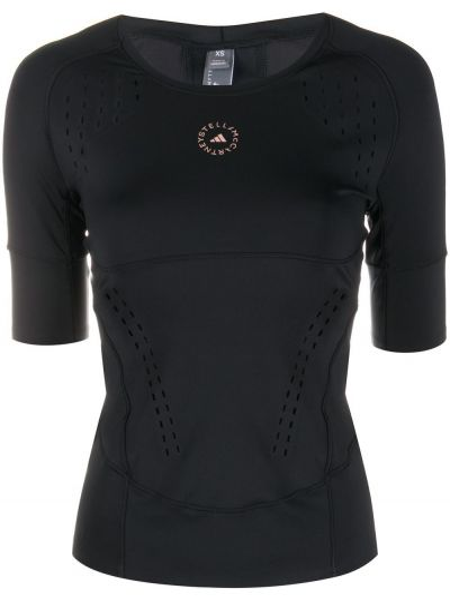 С рукавами черный спортивный топ с вырезом Adidas By Stella Mccartney