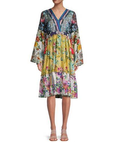 Sukienka długa z długimi rękawami z jedwabiu z dekoltem w serek Johnny Was