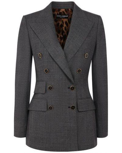 Пиджак двубортный в клетку с подкладкой Dolce & Gabbana