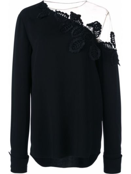Черная асимметричная блузка с открытыми плечами с вышивкой на пуговицах Oscar De La Renta