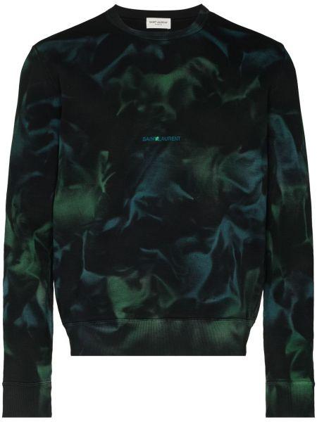 Zielona bluza długa bawełniana z długimi rękawami Saint Laurent