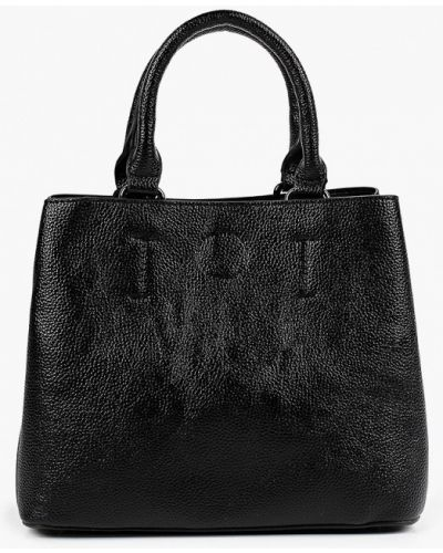 Кожаная черная сумка с ручками Aaquamarina