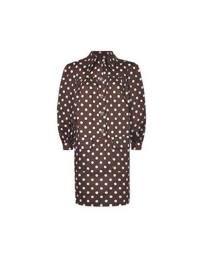 Хлопковое коричневое повседневное платье Luisa Spagnoli