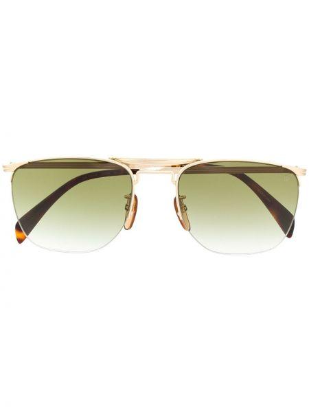 Прямые солнцезащитные очки квадратные хаки David Beckham Eyewear