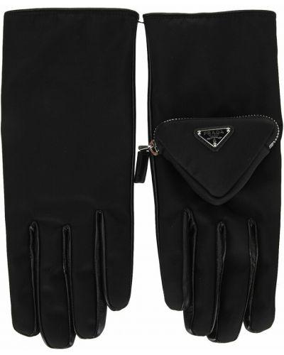Czarne rękawiczki Prada