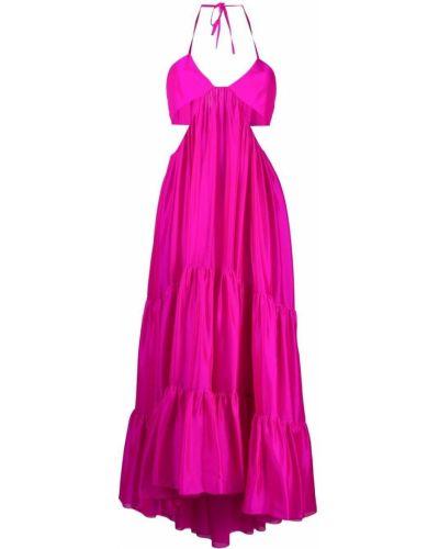 Różowa sukienka midi rozkloszowana z jedwabiu Alexandre Vauthier