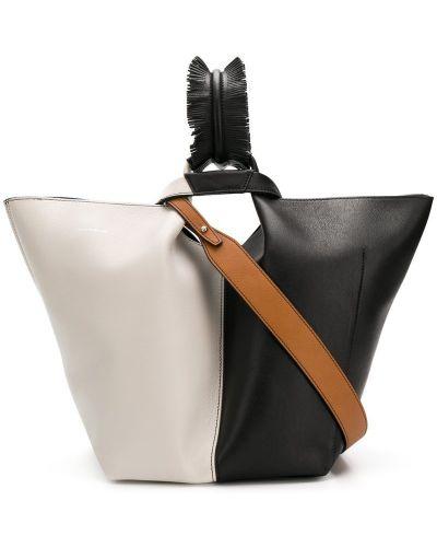 Черная сумка шоппер с камнями Elena Ghisellini
