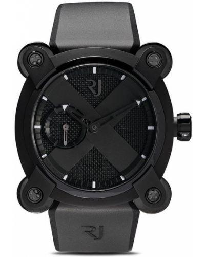 Czarny zegarek mechaniczny srebrny szafir Rj Watches