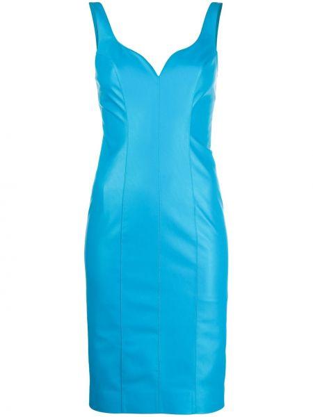 Синее платье без рукавов с вырезом Pinko