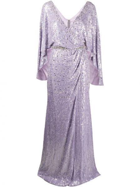 Фиолетовое шелковое платье с запахом Jenny Packham