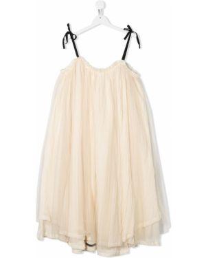 Beżowa sukienka mini asymetryczna tiulowa Little Creative Factory Kids