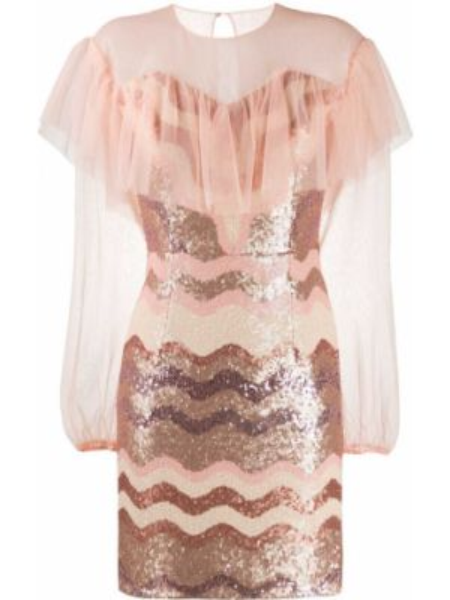 Приталенное розовое платье мини с пайетками на пуговицах Three Floor