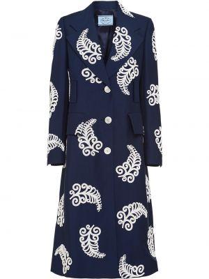Синее расклешенное пальто из мохера с вышивкой Prada