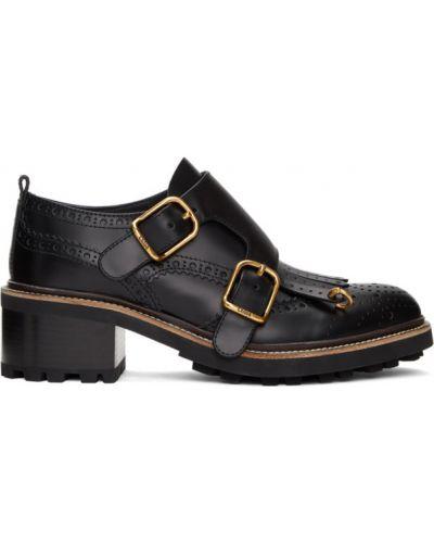 Czarny buty brogsy z klamrą okrągły nos na paskach Chloe