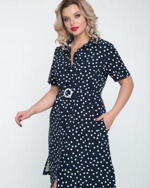 Платье с поясом в горошек на пуговицах тм леди агата