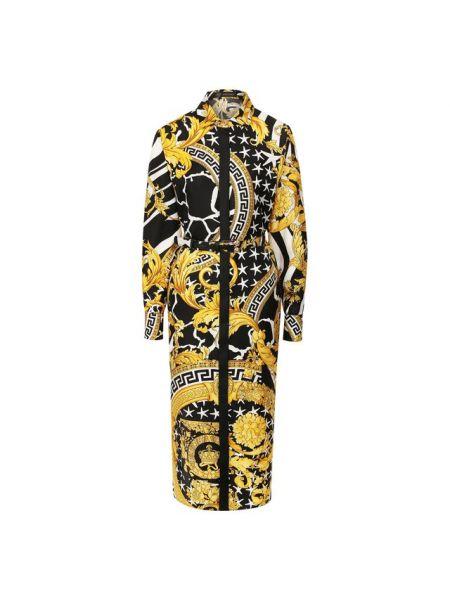 Платье с поясом платье-рубашка шелковое Versace