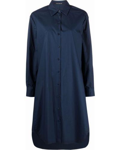 Синее платье макси с длинными рукавами с воротником Luisa Cerano