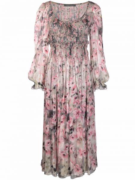 Шелковое платье миди - розовое Alberta Ferretti