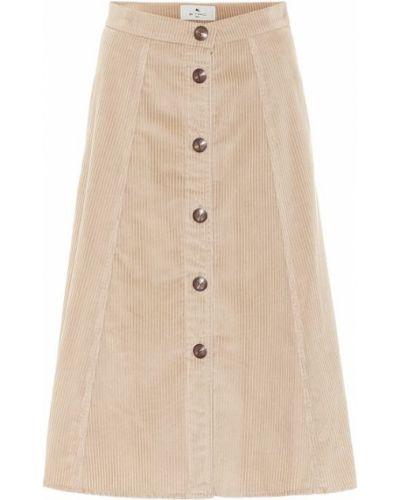 Ватная бежевая юбка миди вельветовая Etro