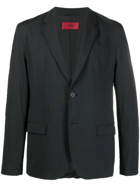 Однобортный черный удлиненный пиджак на пуговицах Boss Hugo Boss