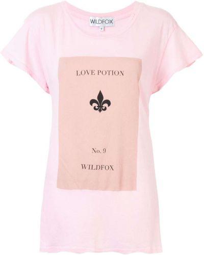 Хлопковая розовая футболка с круглым вырезом с надписью Wildfox