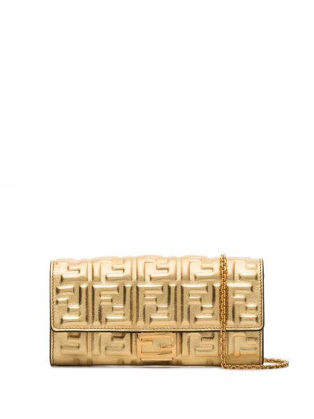 Золотистая кожаная косметичка золотая Fendi