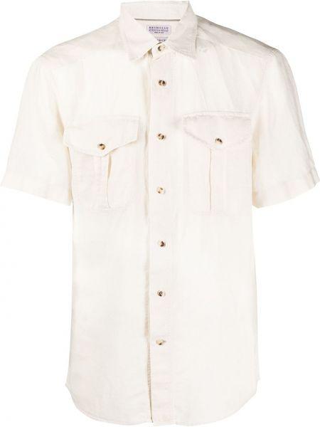 Koszula krótkie z krótkim rękawem prosto z kołnierzem Brunello Cucinelli