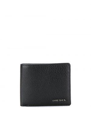Кожаный черный кошелек с карманами Diesel