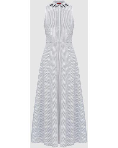 Платье макси в полоску - белое Max & Co