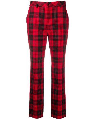 Зауженные красные брюки с карманами из вискозы Mulberry