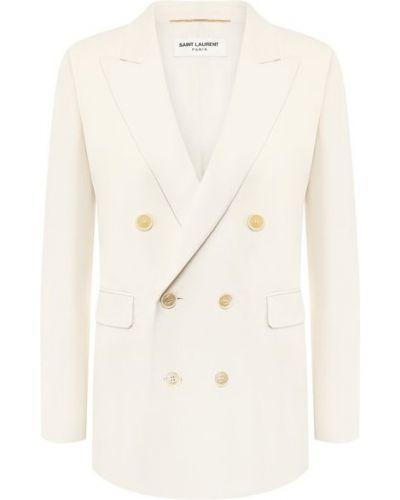 Белый пиджак двубортный с подкладкой Saint Laurent