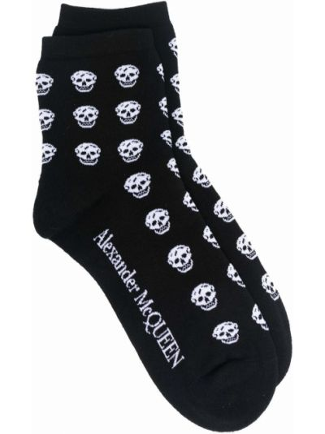 Черные хлопковые носки с черепами Alexander Mcqueen