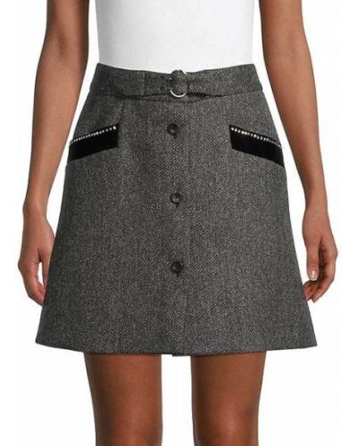 Шерстяная юбка макси с карманами с пряжкой Miu Miu