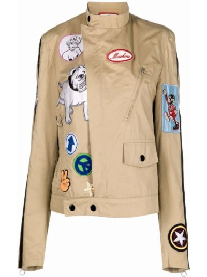 Коричневая куртка с нашивками Moschino Pre-owned