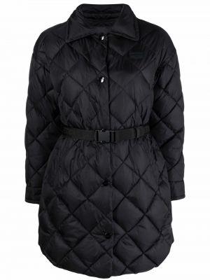 Стеганое черное длинное пальто с воротником Duvetica