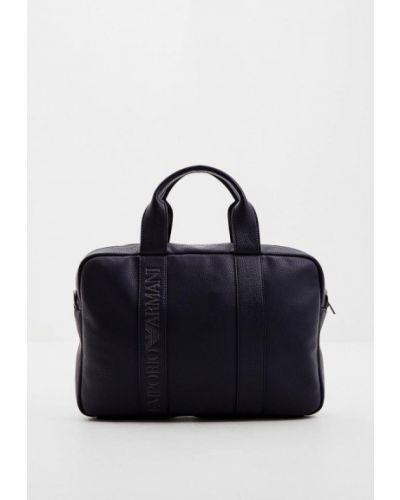 Синяя кожаная сумка Emporio Armani