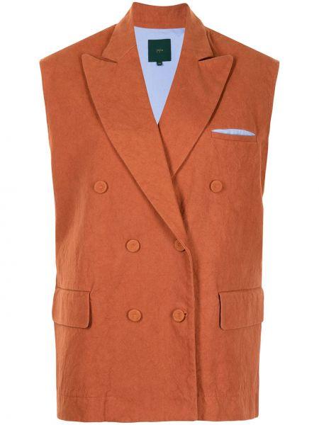 Коричневый пиджак двубортный без рукавов Jejia
